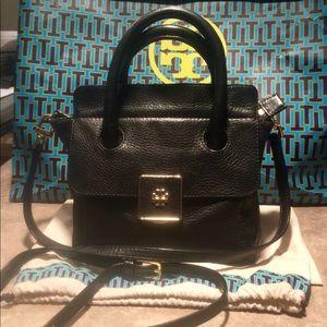 Tory Burch Black Leather Mini Clara Crossbody Bag